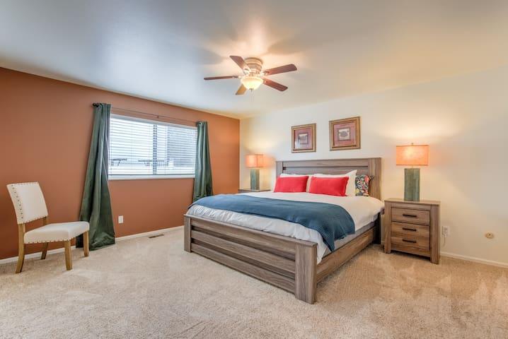 A big, welcoming master bedroom