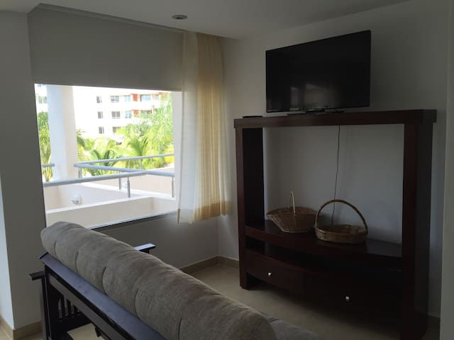 Master bedroom couch and tv. Master bedroom can sleep up to four guests using the couch. Full privacy.