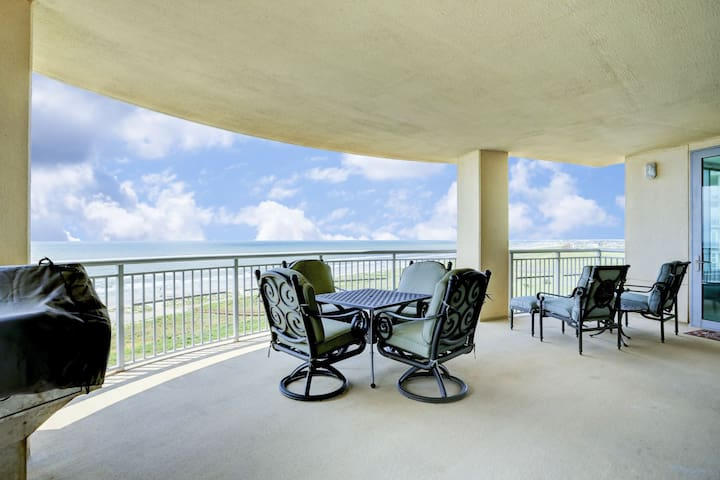 Large balcony enjoys endless views.  The beach, the Island`s east end and the Pleasure Pier