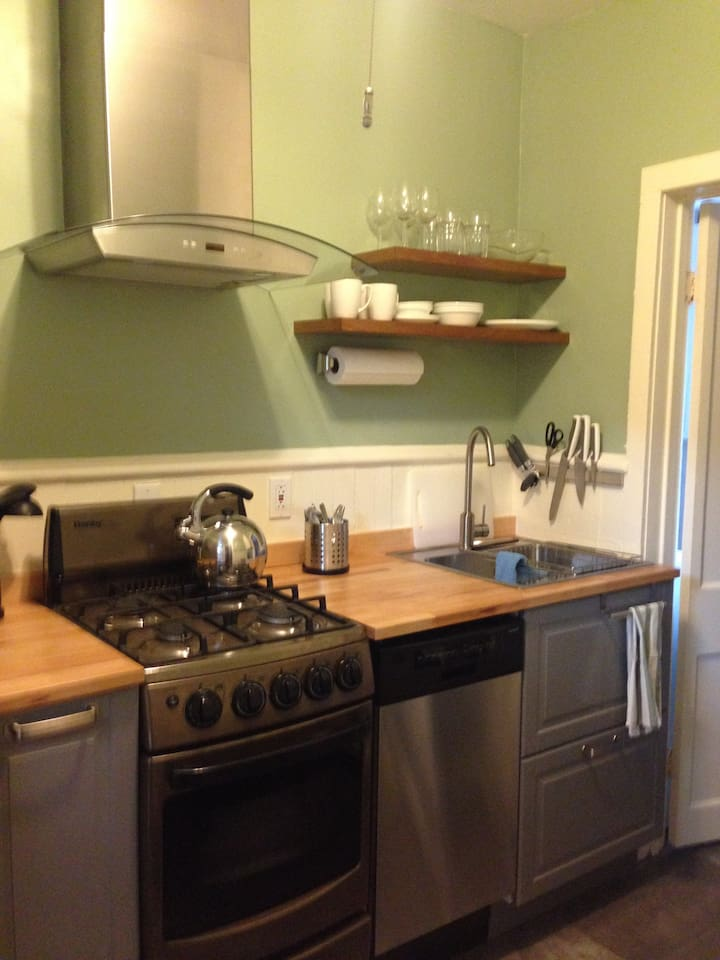 Ikea kitchen with compact stainless appliances