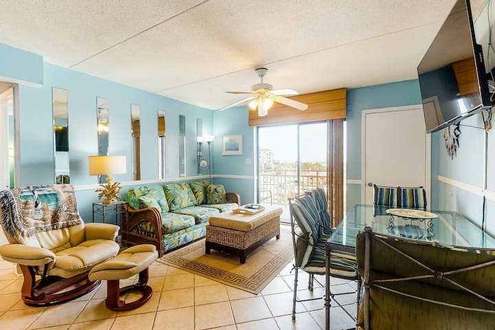 Oceanfront second floor condo with Gulf views, central AC, and gated entrance!