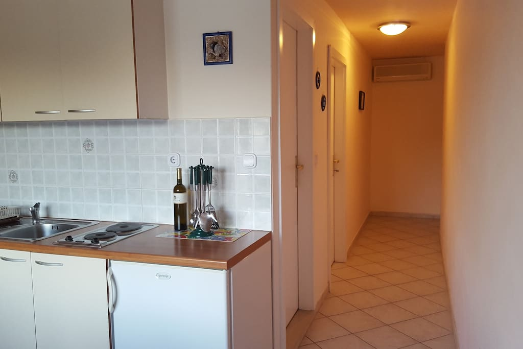 The apartment with one bedroom,  bathroom and bank bend in the kitchen with the balcony