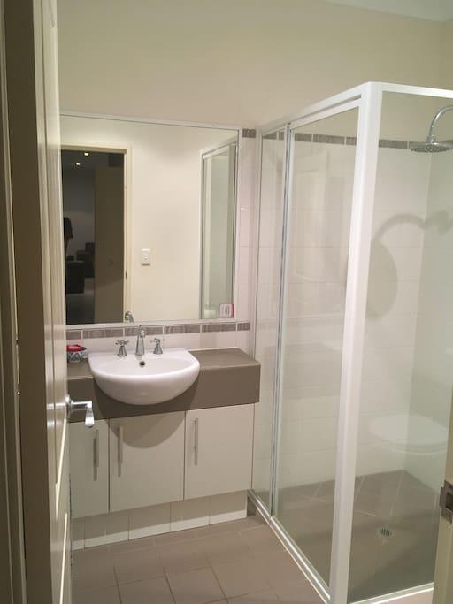 Private Bathroom, shower, toilet.