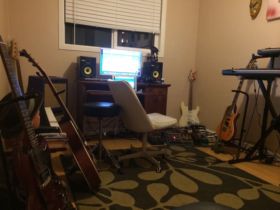 Guitars, keys, software, pedals galore.