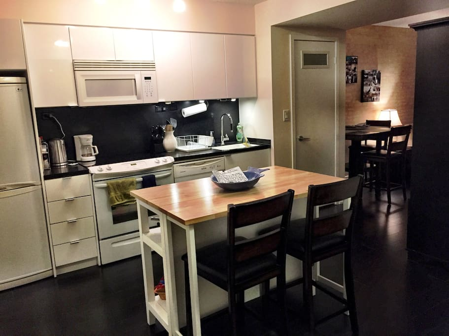 Kitchen Area - Spacious Cooking Area w/ All Appliances/Tools Included, and Kitchen Island to Sit At