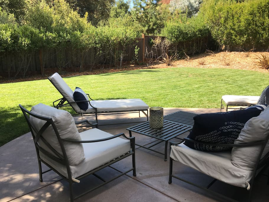 Lounging in the private back yard