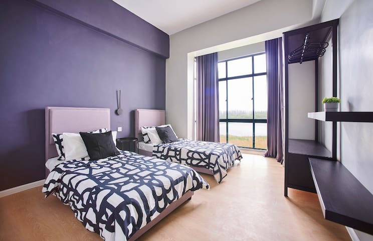 Two comfy single beds, arrangement is adjustable