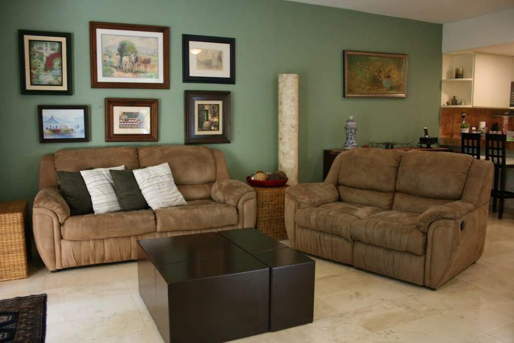 Cozy living room with double sofa bed