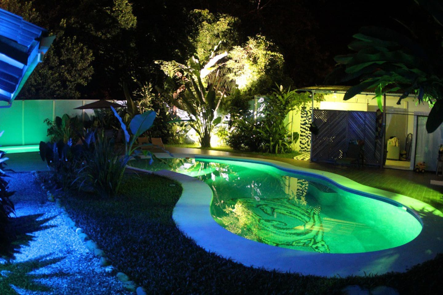 Our big pool at night!