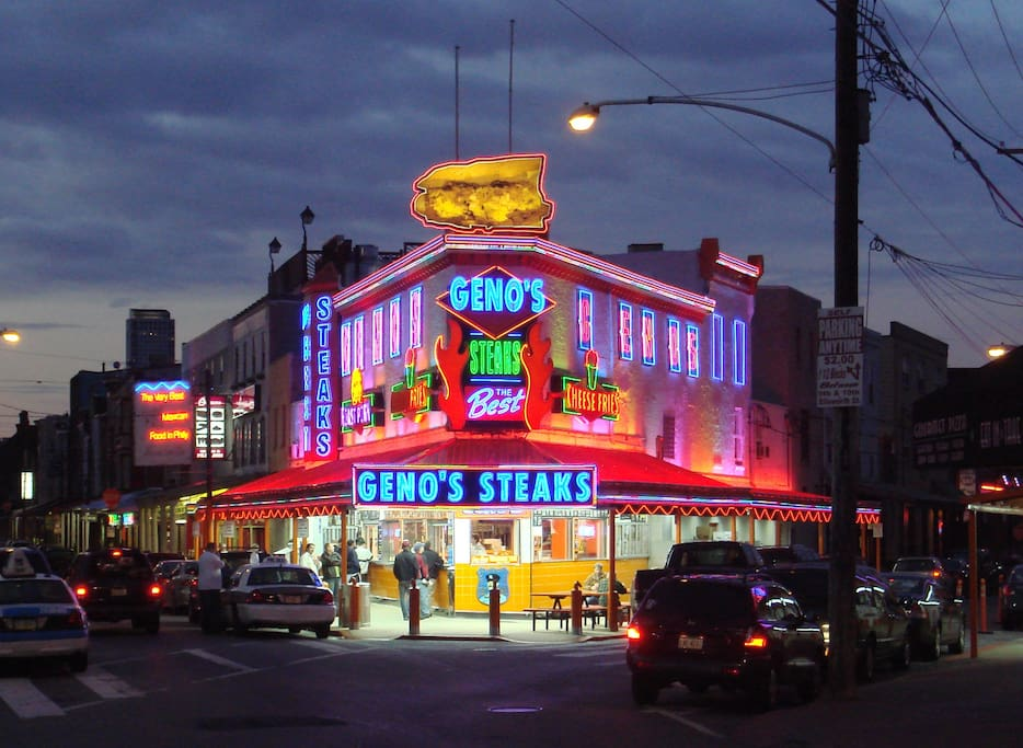 The Famous Geno's And Pat's Steaks are within walking distance