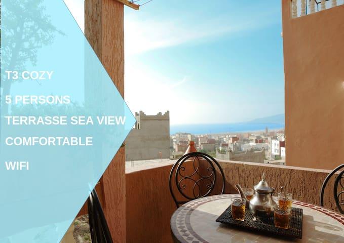 Dar Oceana 2  plage à 5 min, appart 60m² terrasse vue mer idéal famille et surfeur
