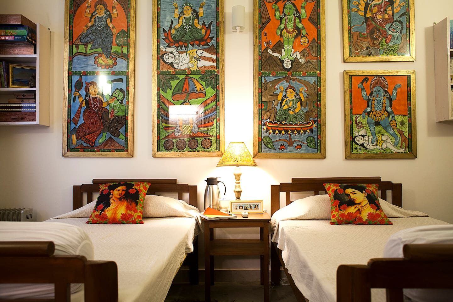 This is your bedroom! It is decorated with tribal art from Bengal. The two large twin beds can be pushed together, if you prefer.