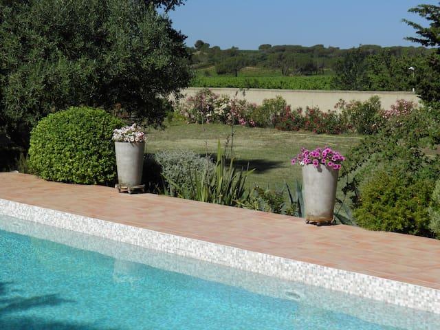 Le jardin en bord de piscine sur terrasse