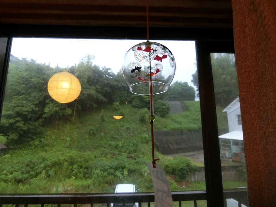 This is Furin, Japanese Wind Charms. When the wind blows, they make soothing chiming sound that will make you feel very relaxed. It is also believed to ward off evil spirits.