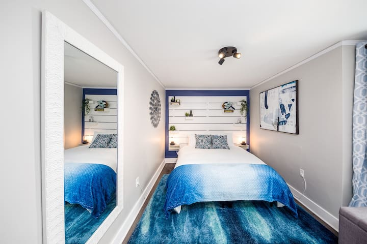 Bedroom #1 with Queen sized memory foam mattress and heavy down comforter.