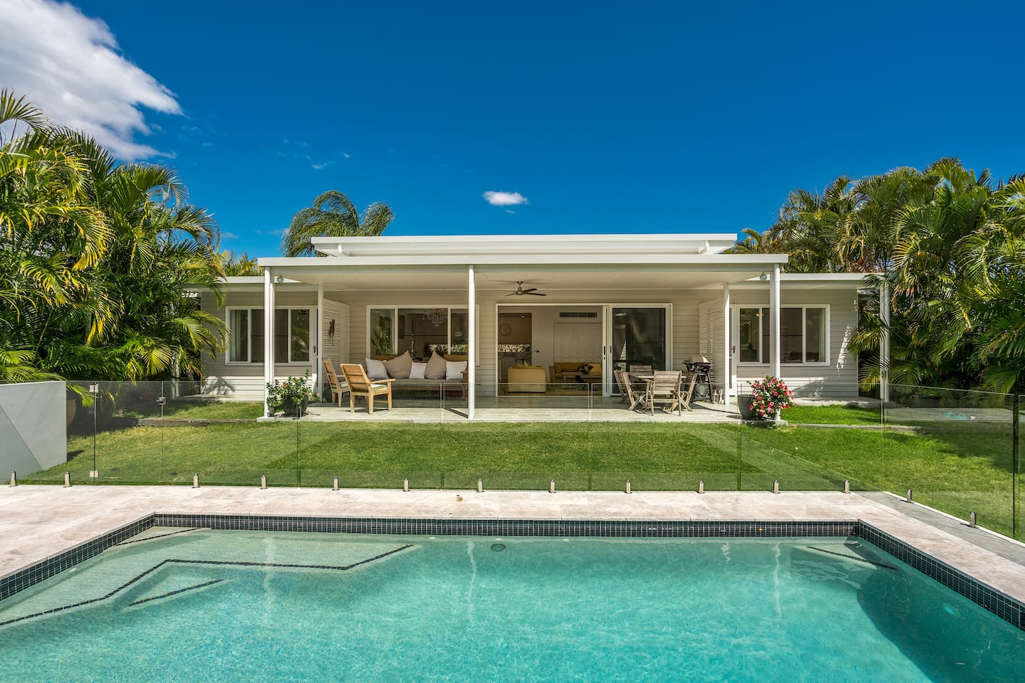 Beautiful private north facing beach house overlooking the pool and Forest.