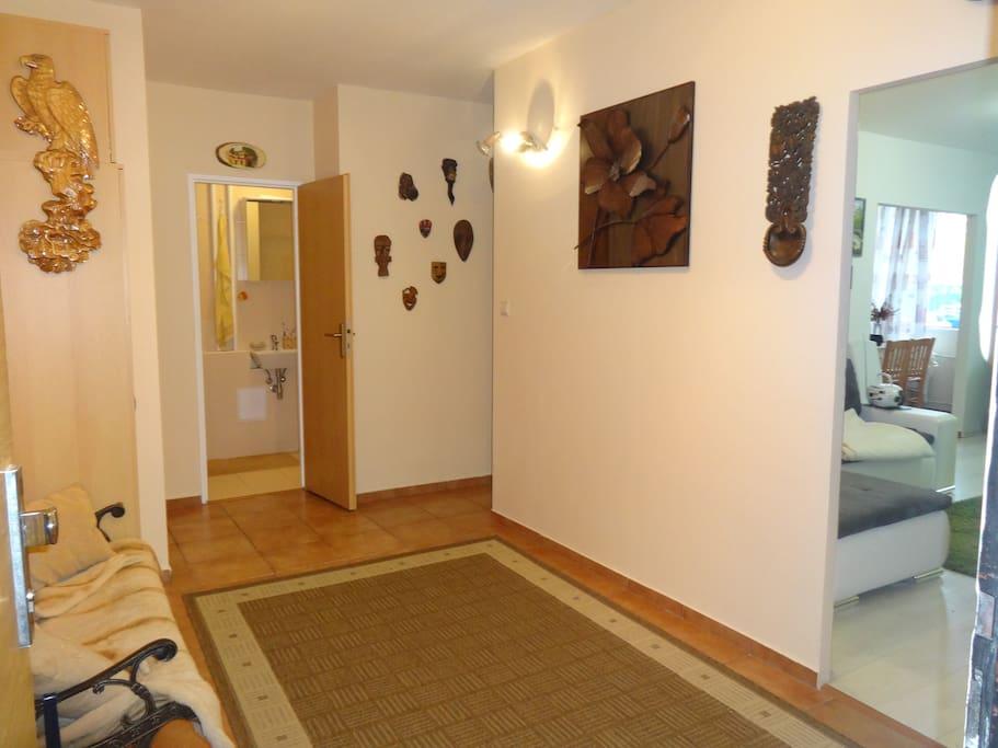 Hall, bathroom on the left