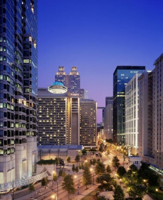 "This is the location of the condominium. It's located in the heart of Downtown Atlanta in the ""hotel district"" near conferences, chef inspired restaurants, an active nightlife, and all of the attractions that Atlanta is known for. (The condo can be seen in this picture, it's the closest building on the right side)"