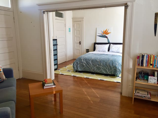 Spacious, sunny bedroom for exploring SF