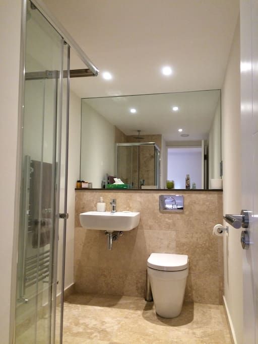 Luxury shower room with high pressure shower.