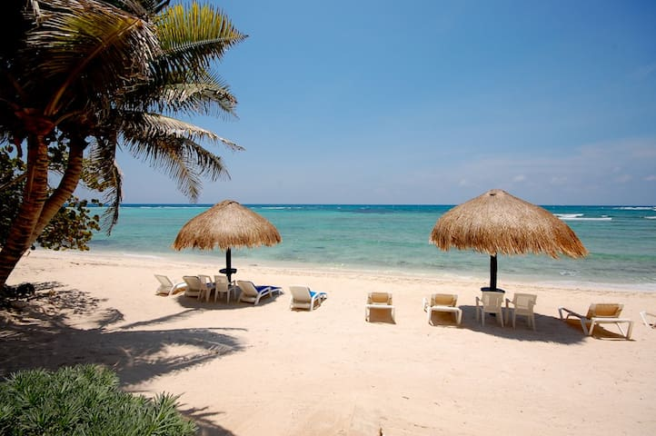 Half Moon Bay beach in Akumal at La Mirage Condominiums.  Snorkel the coral reef that is steps from your door.