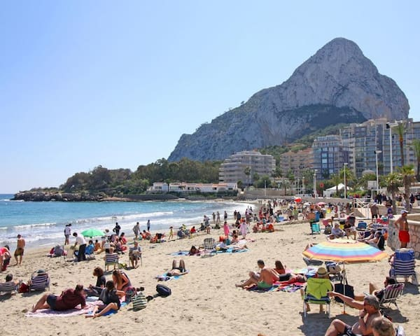 Calpe Beach, a lot less crowded than Benidorm and other better-known locations.