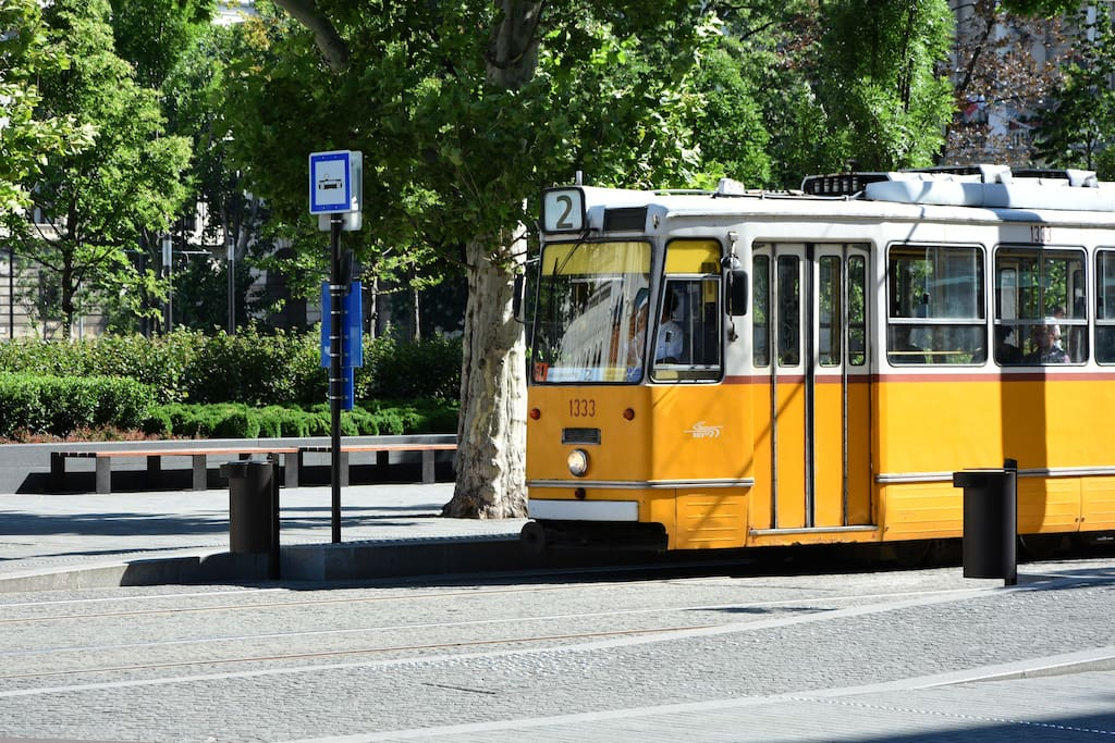Tram 2 stops on the corner. It has been awarded with the 7th place, being the best European line.