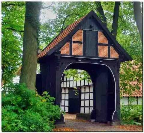 Historic estate surrounded by nature half-timbered house