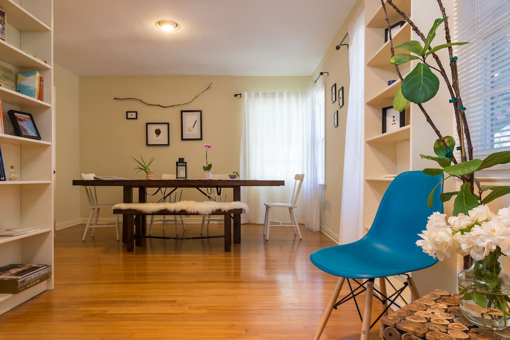 Large dining room table is perfect for meals or working on your laptop.