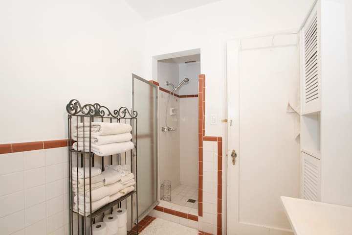 Shower in the shared restroom.  Towels, hand-towels and washcloths are available.