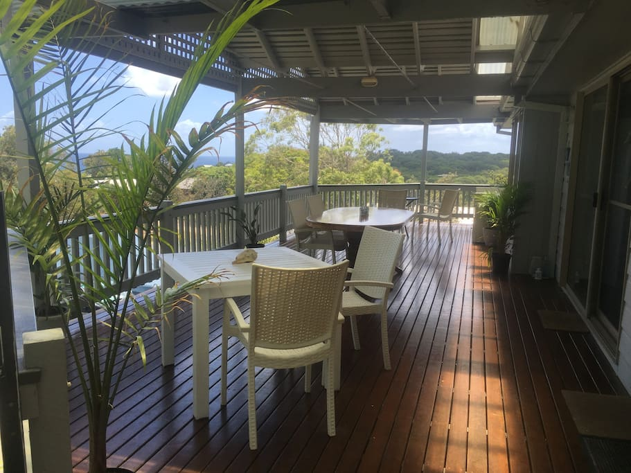 Breakfast deck with views