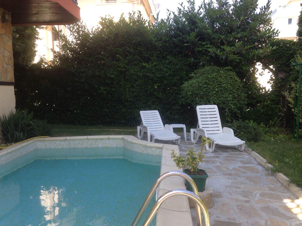 Общий бассейн на весь дом во дворе
