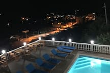 Swimming pool area from the balcony of the apartments