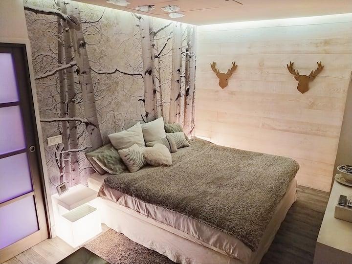 *Studio de luxe avec Jacuzzi et Sauna privatifs