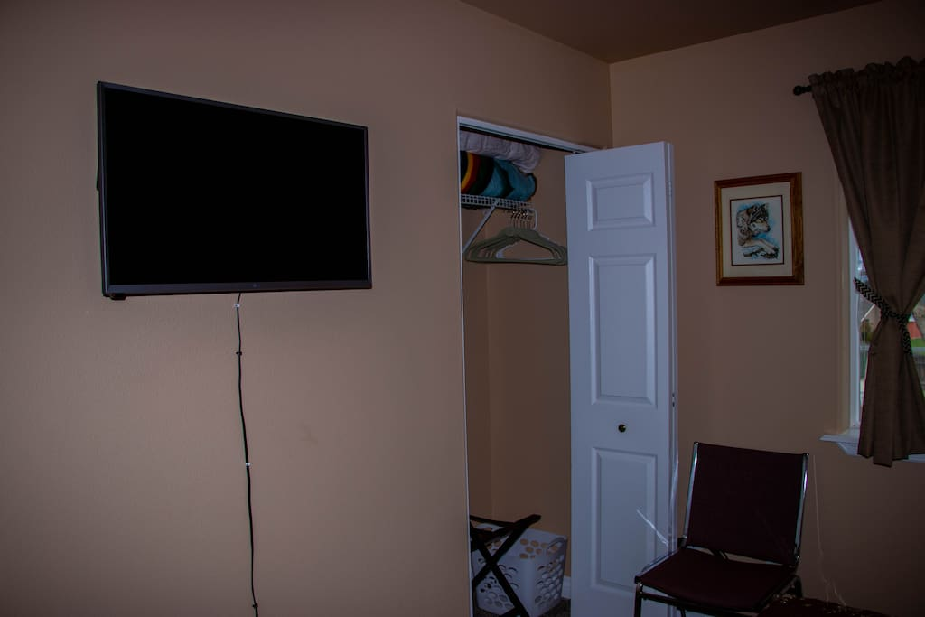 "32"" LG Wall Mounted Internet (WiFi) TV and Bedroom Closet"