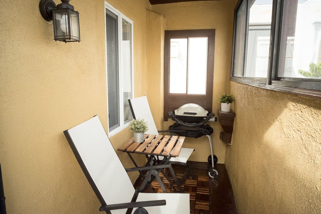 cozy patio with webber gas grill