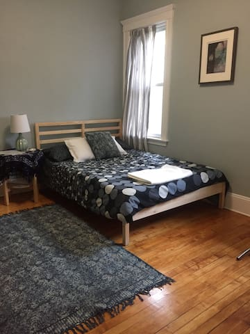 Hip Bedroom in Coolidge Corner, newly decorated.