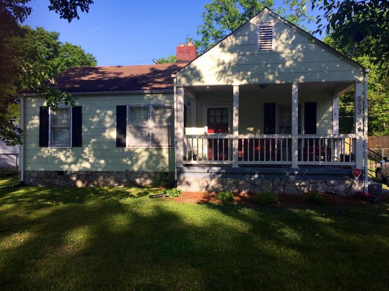 Front view of the house with front porch