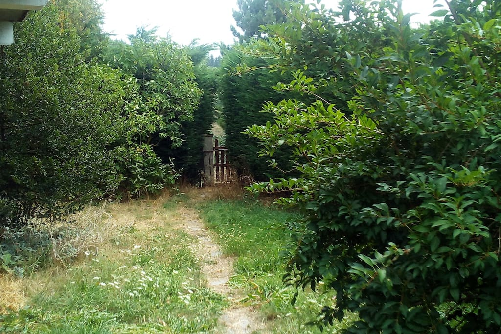 Une partie du jardin avec sa petite porte dérobée permettant de partir directement à pied au village ou bien en randonnée.
