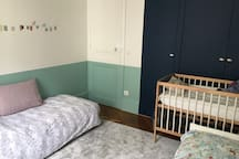 Kids bedroom with extra bed for teenager if needed
