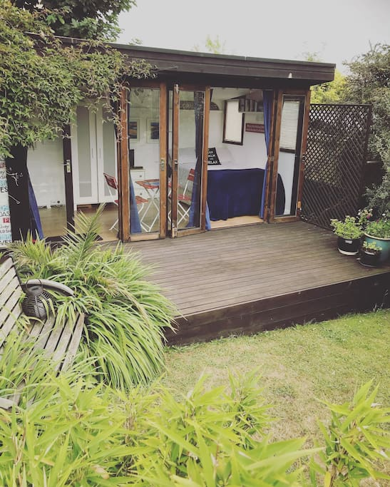 The Studio has its own decking for visitors to use.