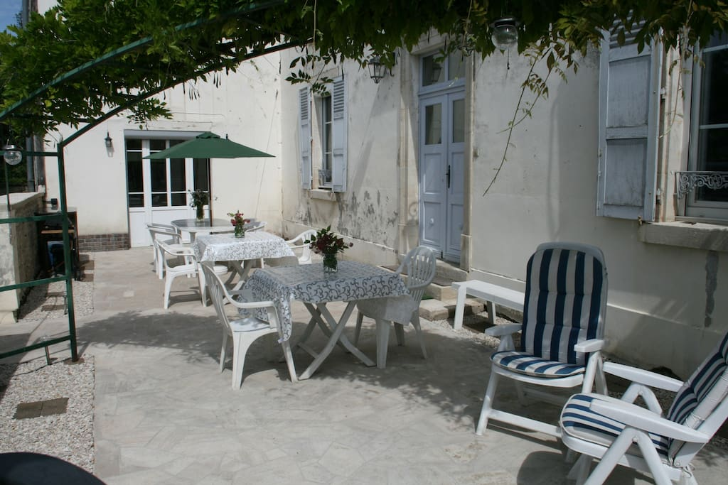 Breakfast is served on the terrace in the sunshine