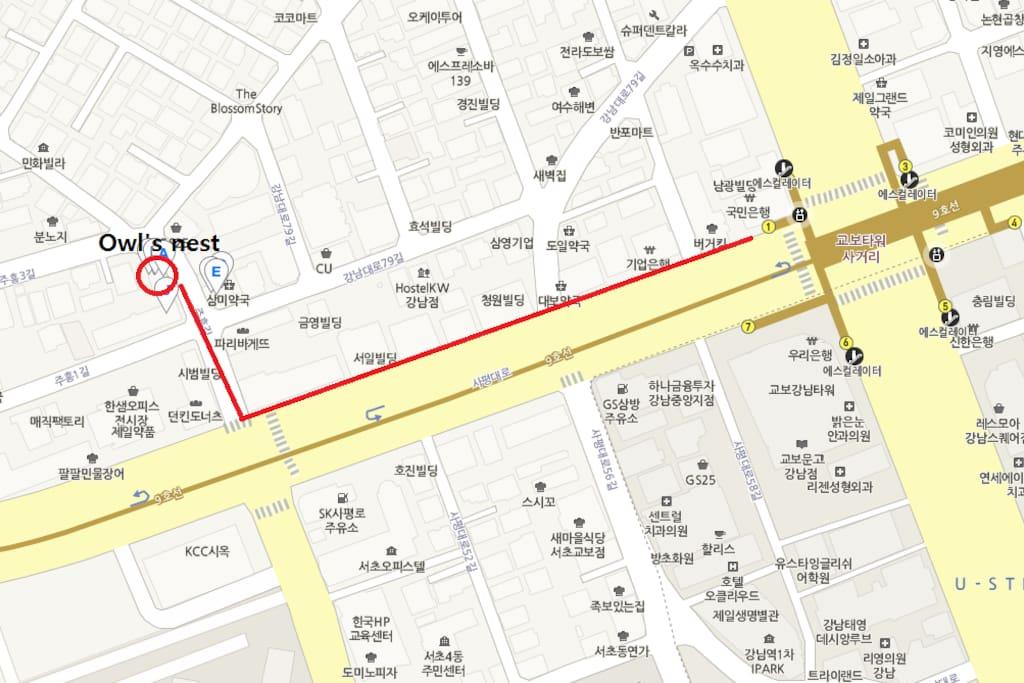 Map Sinnonhyeon to Owl's nest