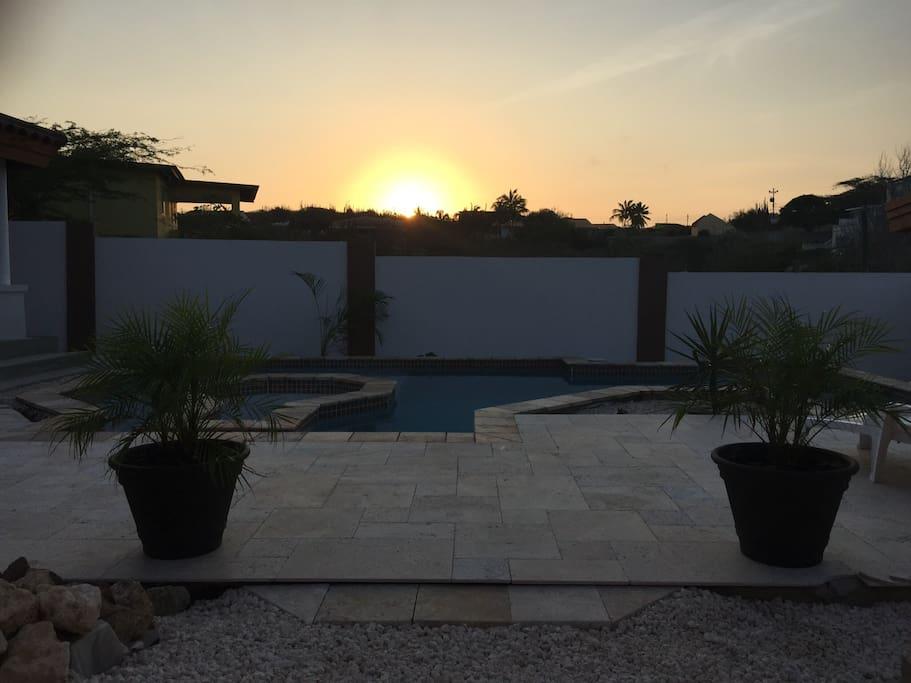 Sunrise at the pool/jacuzzi