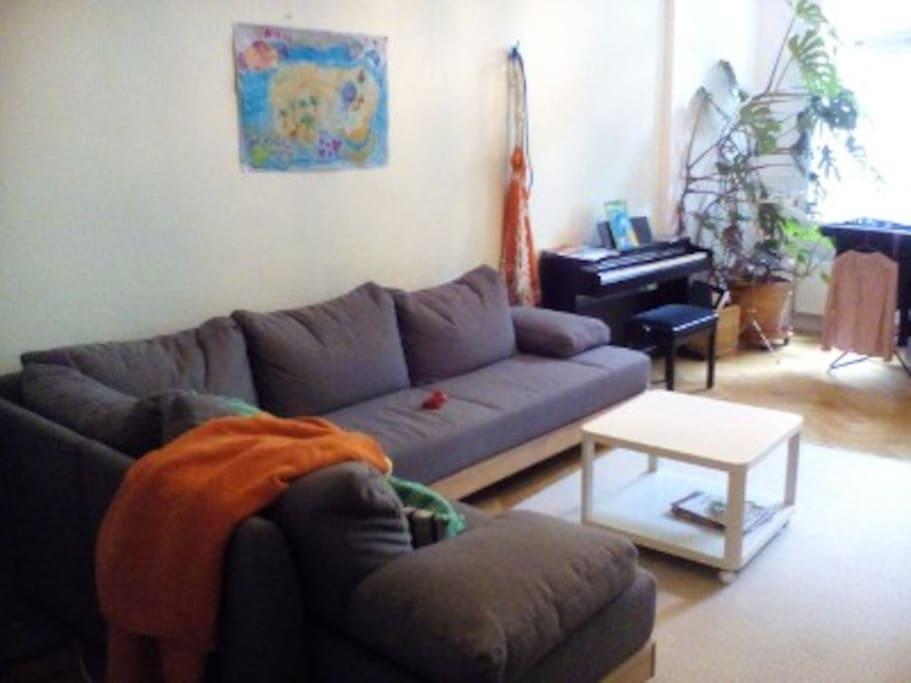 Ein WWohnzimmer mit Kamin und sehr bequemen Schlafsofa