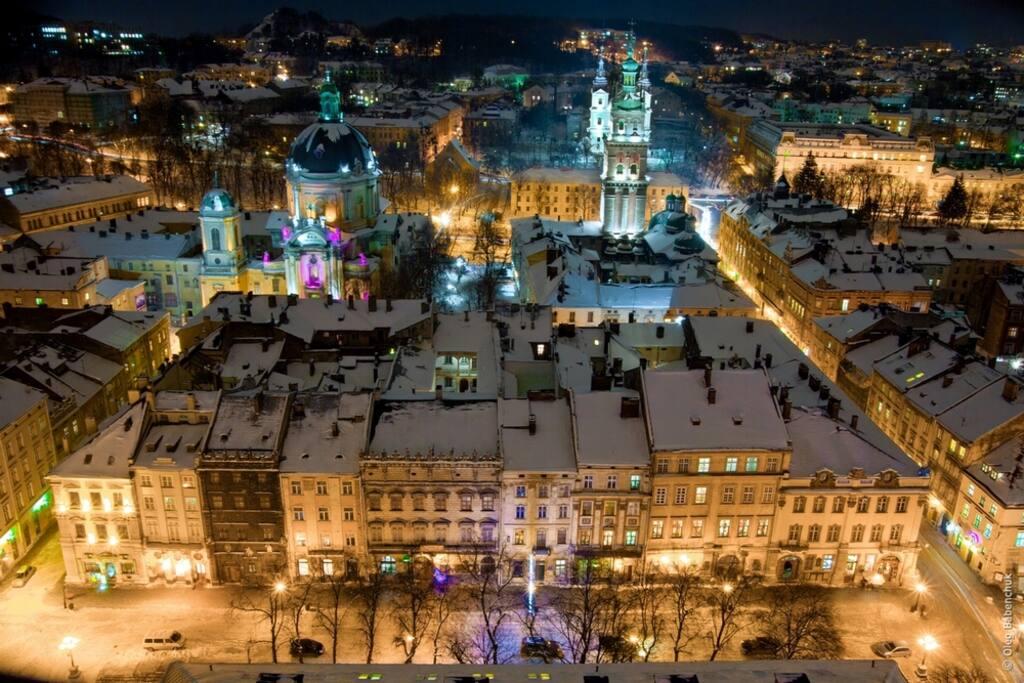 Old Lviv at night