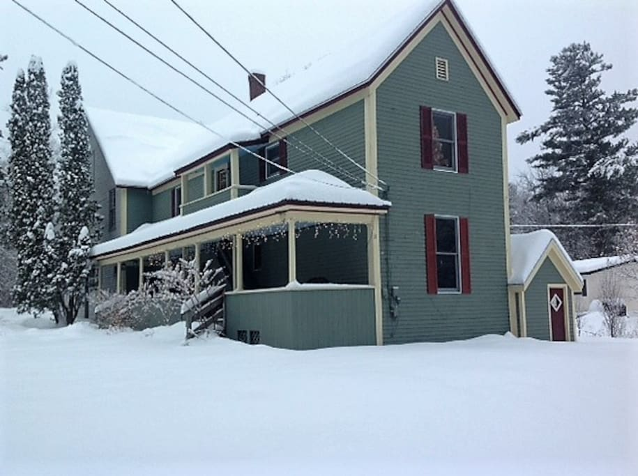 2017 winter photo, prior to house and barn being painted in fall of 2018