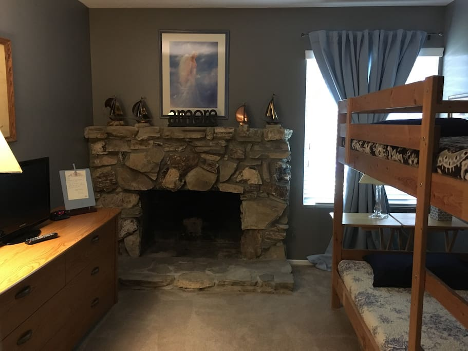 Bedroom - Twin Bunk Beds, decorative fireplace