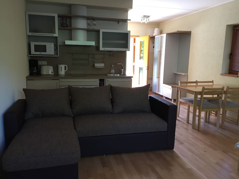 Pull out sofa bed and kitchenette