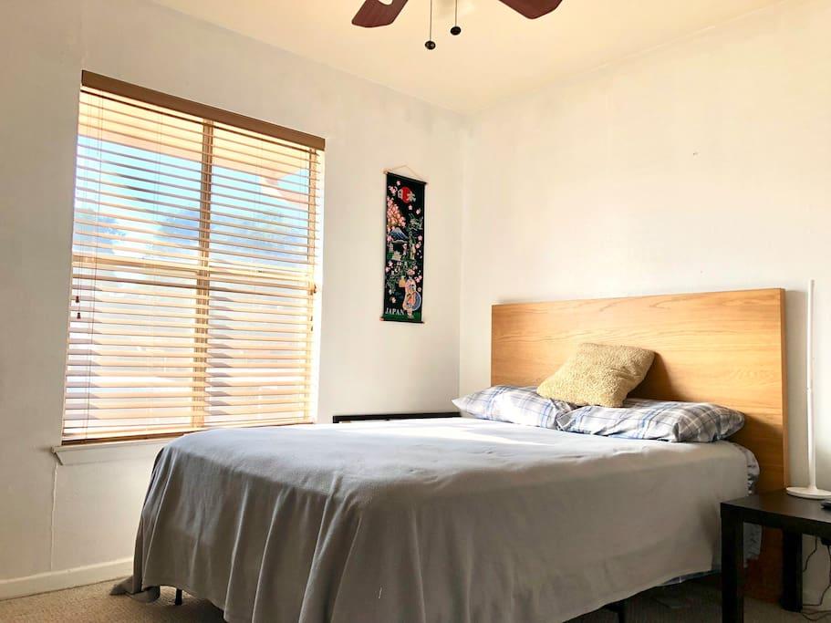 Cozy private bedroom with full bathroom next door.